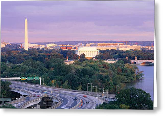 Capitol Greeting Cards - High Angle View Of Monuments, Potomac Greeting Card by Panoramic Images