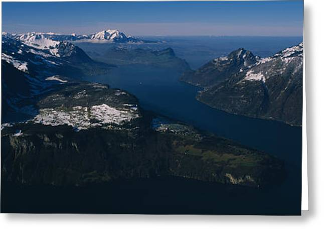 Lucerne Greeting Cards - High Angle View Of Mountains, Lake Greeting Card by Panoramic Images
