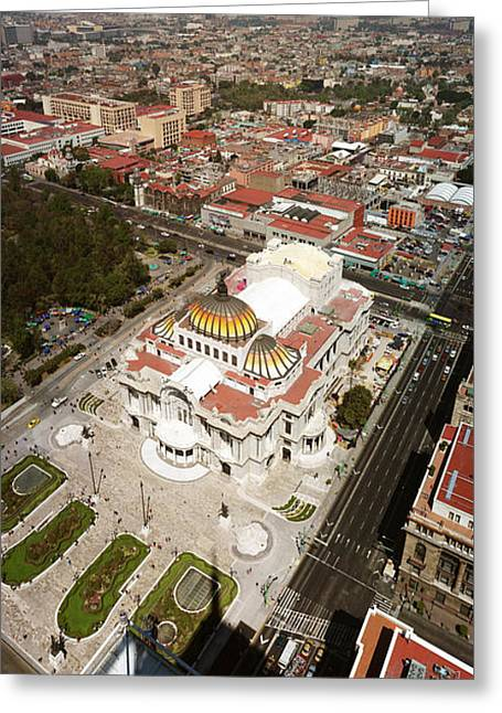 Arts Culture And Entertainment Greeting Cards - High Angle View Of Palacio De Bellas Greeting Card by Panoramic Images