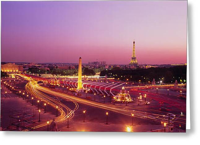 Concorde Greeting Cards - High Angle View Of Paris At Dusk Greeting Card by Panoramic Images