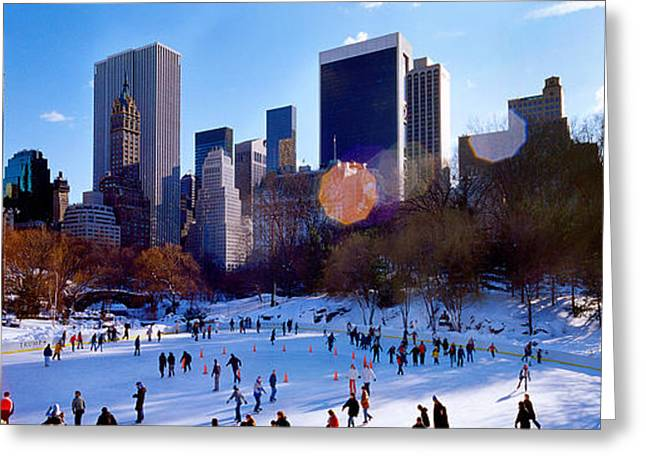 Snow New York City Greeting Cards - High Angle View Of People Skating In An Greeting Card by Panoramic Images