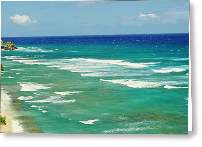 Ocean Photography Greeting Cards - High Angle View Of Shoreline, Hawaii Greeting Card by Panoramic Images