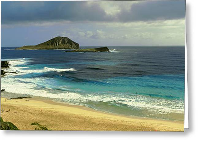Ocean Photography Greeting Cards - High Angle View Of Surf On The Beach Greeting Card by Panoramic Images
