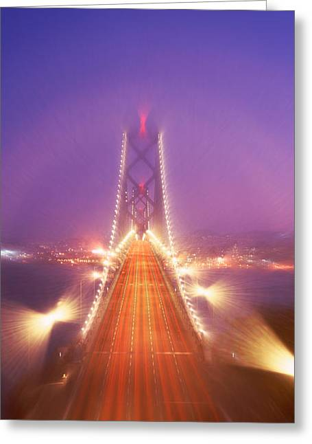 River Road Greeting Cards - High Angle View Of Suspension Bridge Greeting Card by Panoramic Images