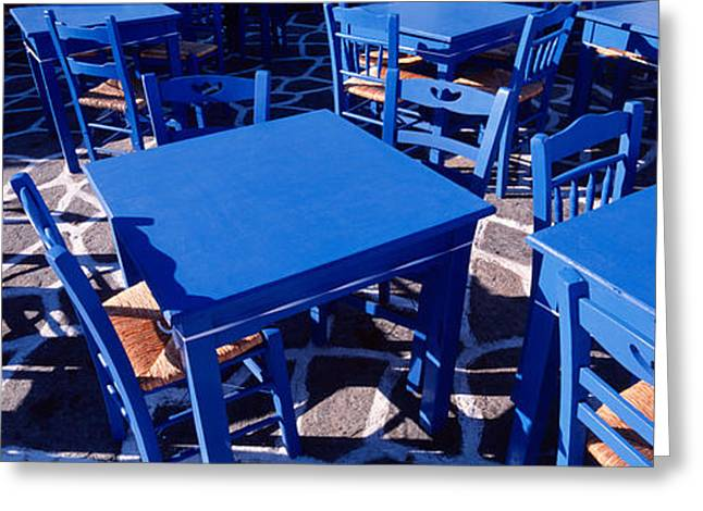 High Angle View Of Tables And Chairs Greeting Card by Panoramic Images