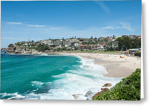 Surf City Greeting Cards - High Angle View Of The Bronte Beach Greeting Card by Panoramic Images