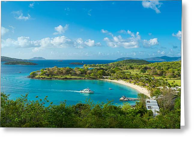 Virgin Islands Greeting Cards - High Angle View Of The Caneel Bay, St Greeting Card by Panoramic Images