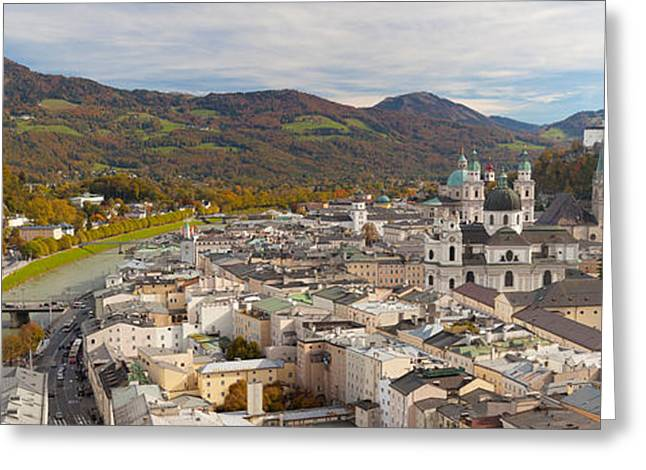 Salzburg Greeting Cards - High Angle View Of The City, Salzburg Greeting Card by Panoramic Images