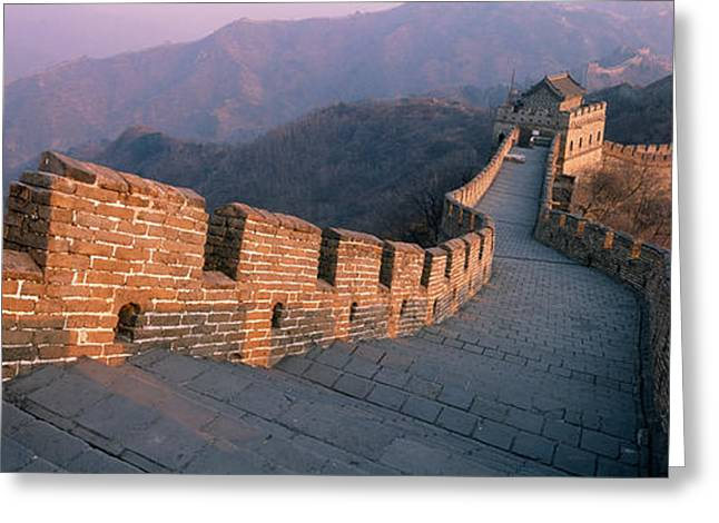 Fortified Wall Greeting Cards - High Angle View Of The Great Wall Of Greeting Card by Panoramic Images