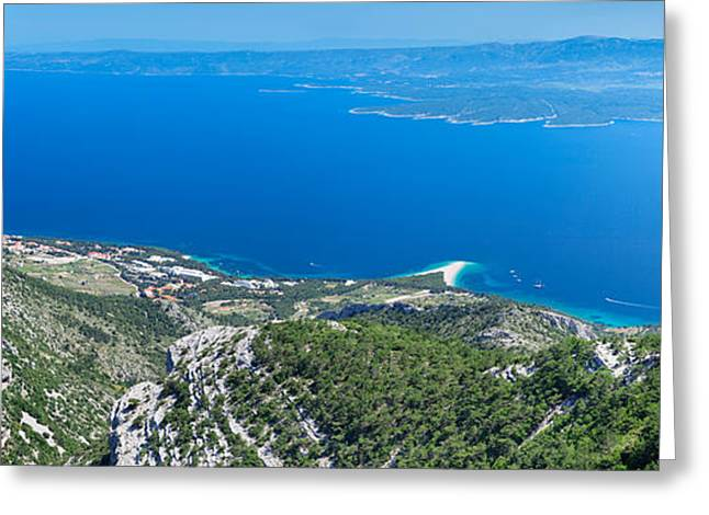 Adriatic Sea Greeting Cards - High Angle View Of The Hvar Island Greeting Card by Panoramic Images