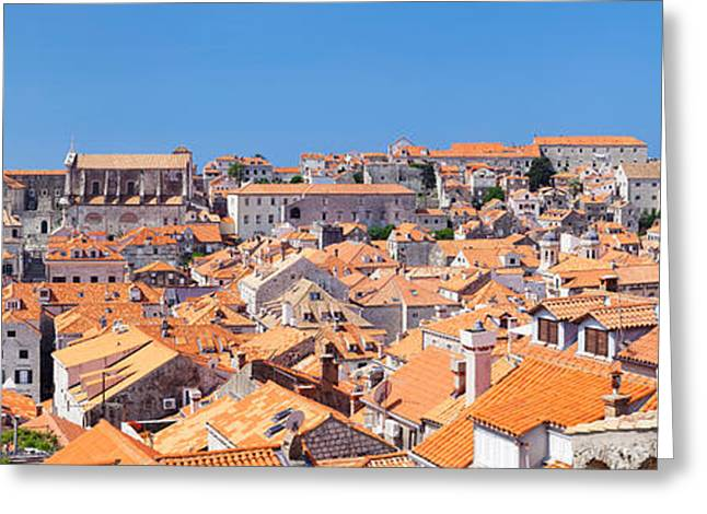 Adriatic Sea Greeting Cards - High Angle View Of The Old Town Greeting Card by Panoramic Images