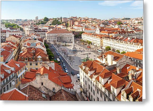 Incidental People Greeting Cards - High Angle View Of The Rossio Square Greeting Card by Panoramic Images