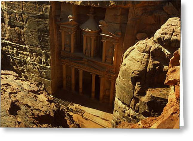 Civilization Greeting Cards - High Angle View Of The Treasury, Wadi Greeting Card by Panoramic Images