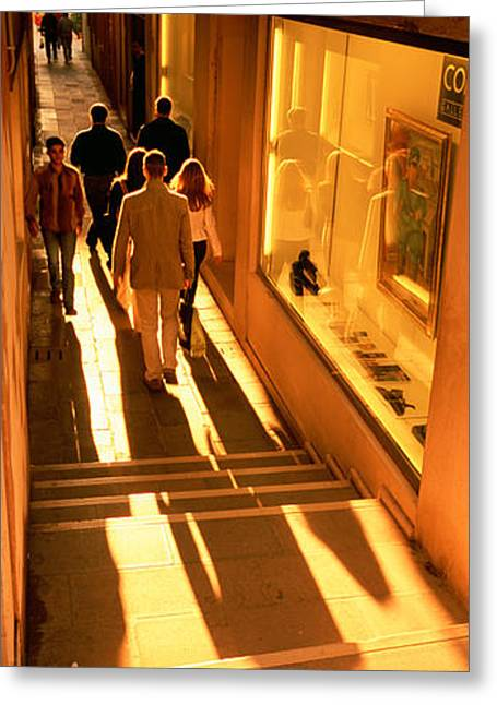 Staircase Greeting Cards - High Angle View Of Tourists In A City Greeting Card by Panoramic Images