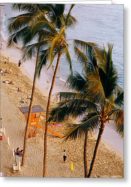 Panoramic Ocean Greeting Cards - High Angle View Of Tourists Greeting Card by Panoramic Images