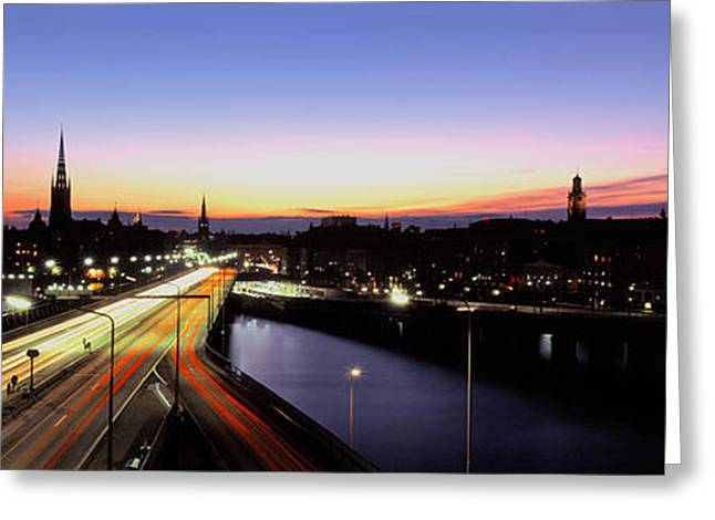 Traffic Greeting Cards - High Angle View Of Traffic Greeting Card by Panoramic Images