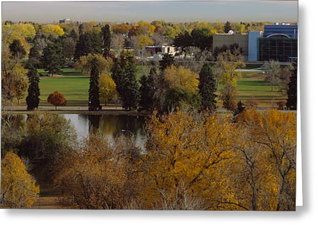 Fall Photography Greeting Cards - High Angle View Of Trees, Denver Greeting Card by Panoramic Images