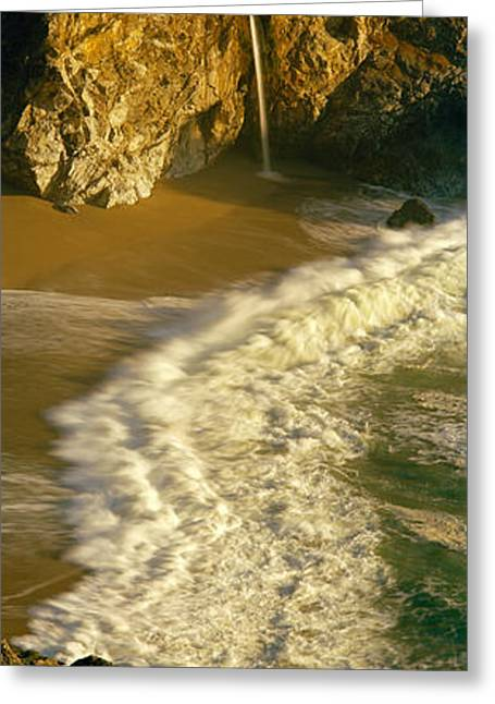 Pfeiffer Beach Greeting Cards - High Angle View Of Waterfall Greeting Card by Panoramic Images