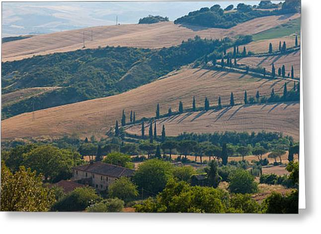 Winding Road Greeting Cards - High Angle View Of Winding Road Greeting Card by Panoramic Images