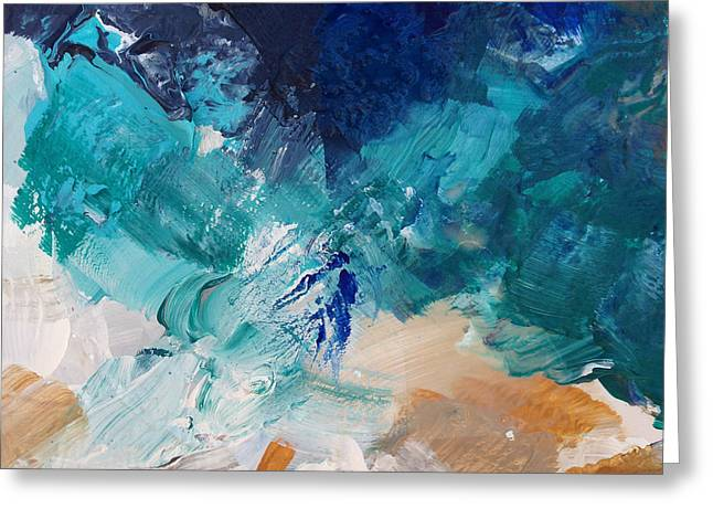 Aqua Blue Greeting Cards - High As A Mountain- Contemporary Abstract Painting Greeting Card by Linda Woods