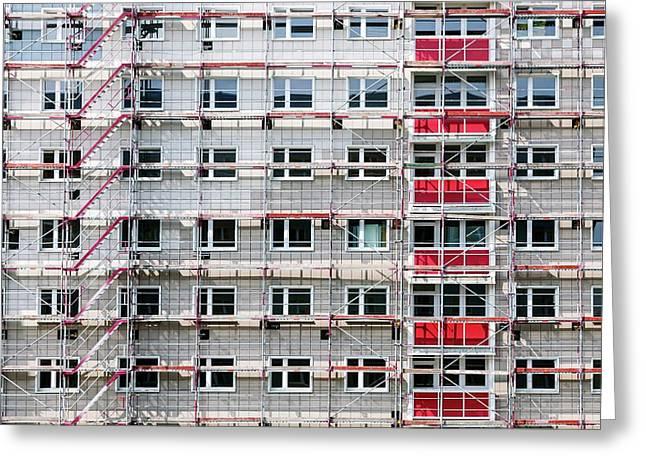 High Building House In Scaffolding Greeting Card by Wladimir Bulgar