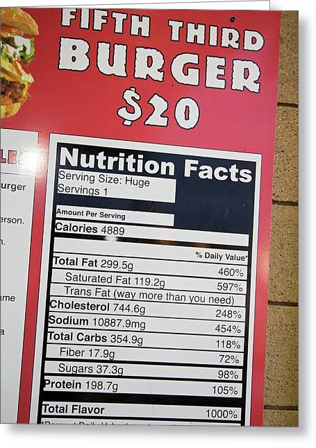 High Calorie Burger On Sale Greeting Card by Jim West