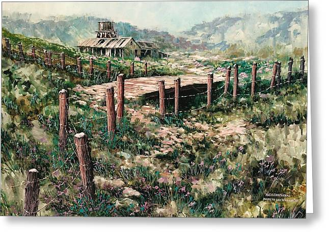 Old Fence Posts Paintings Greeting Cards - High Chaparral Greeting Card by Marilyn Lee Willour