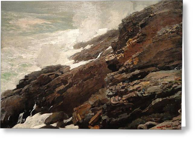 Winslow Homer Greeting Cards - High Cliff coast of Maine 1894 Greeting Card by Winslow Homer