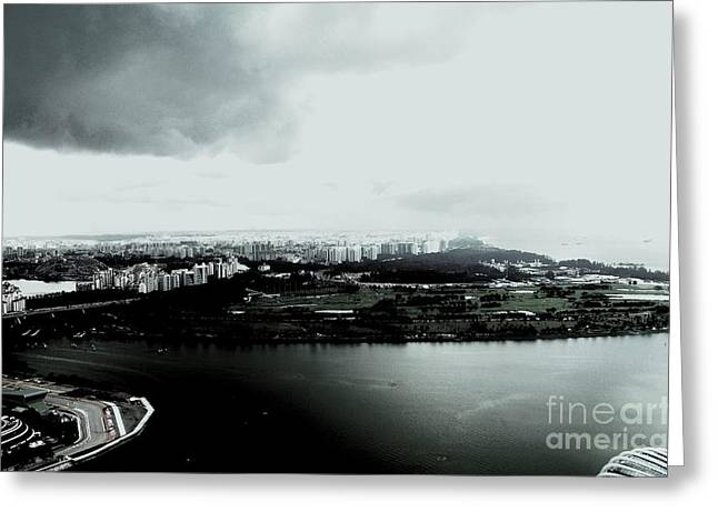 Cumulus Greeting Cards - High Contrast Singapore Storm Greeting Card by Greg Cross