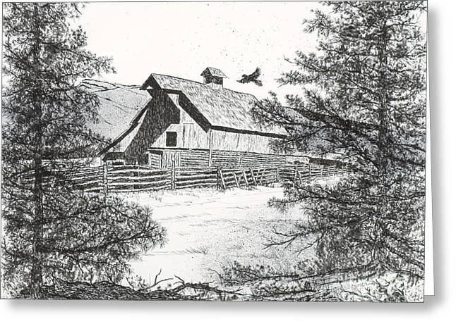 High Country Barn Greeting Card by Judy Sprague