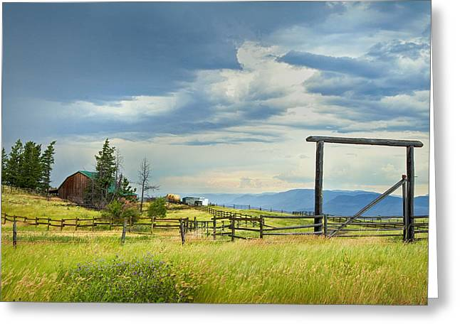 British Columbia Greeting Cards - High Country Farm Greeting Card by Theresa Tahara