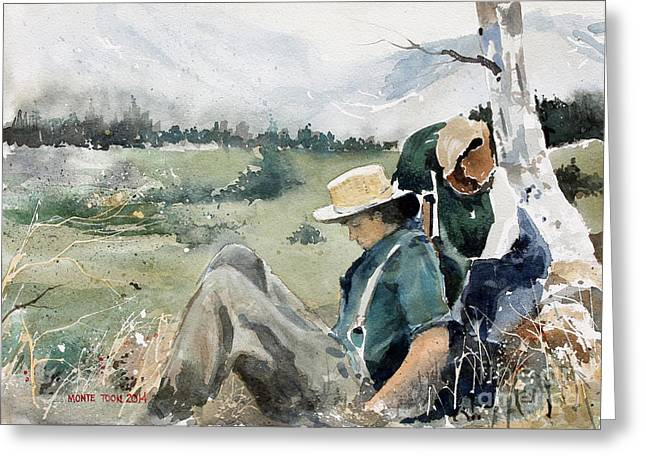 Briefs Greeting Cards - High Country Rest Stop Greeting Card by Monte Toon
