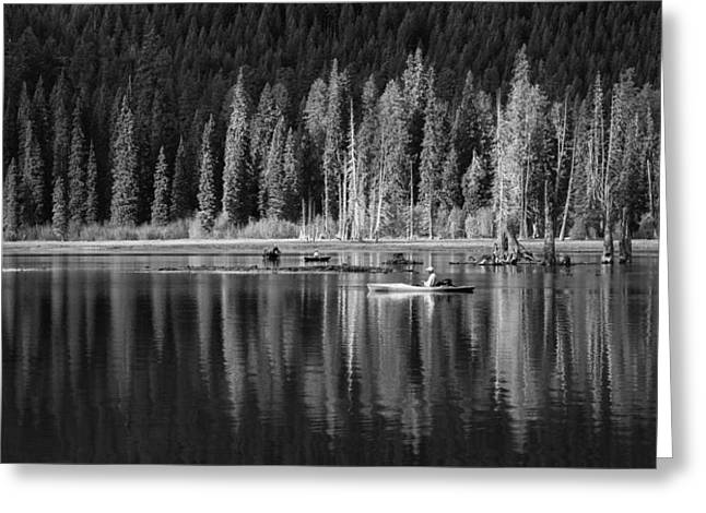 Row Boat Greeting Cards - High Country Tranquility Greeting Card by Angie Vogel