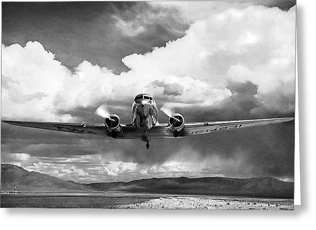 Plane Engine Greeting Cards - High Desert DC-3 Greeting Card by Peter Chilelli