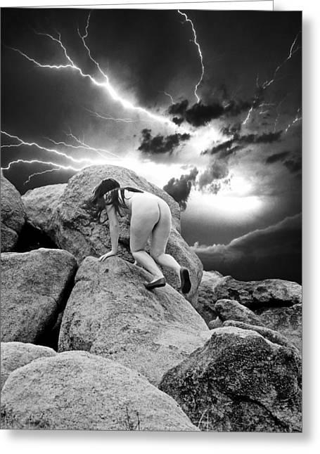 Dry Lake Digital Art Greeting Cards - High Desert Dry Lightning Greeting Card by Ken Evans