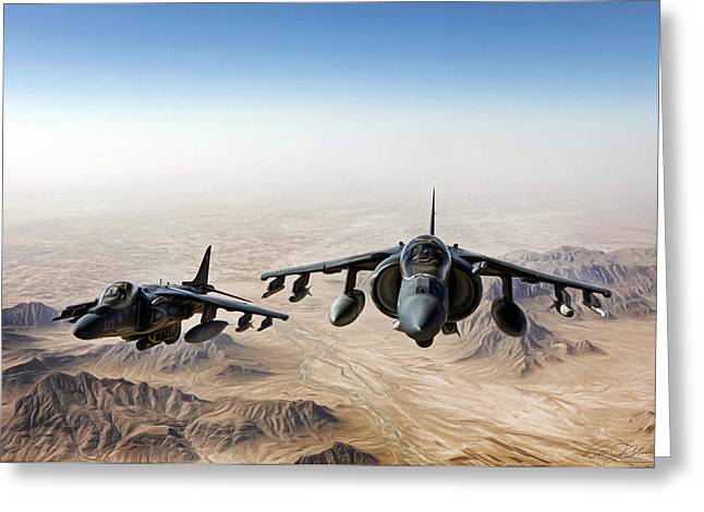 Usmc Greeting Cards - High Desert Harriers Greeting Card by Peter Chilelli