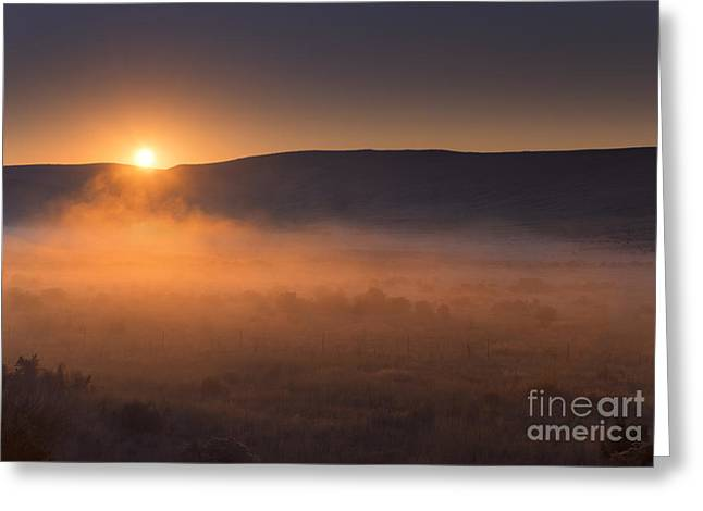 Central Washington Greeting Cards - High Desert Morning Mist Greeting Card by Mike  Dawson