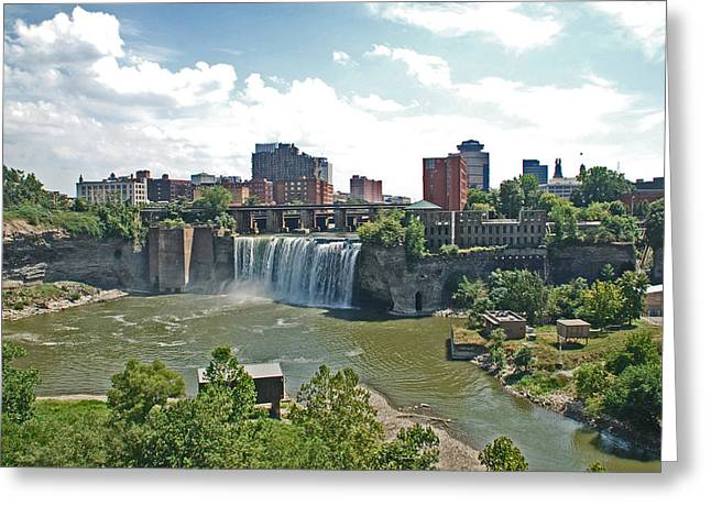 Rochester Skyline Greeting Cards - High Falls Greeting Card by Aimee L Maher Photography and Art