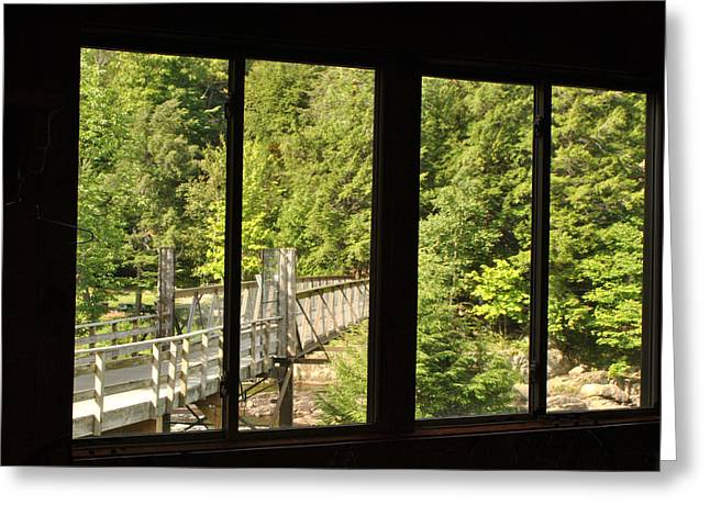 High Falls Gorge Greeting Cards - High Falls Gorge - Bridge Greeting Card by Wayne Sheeler