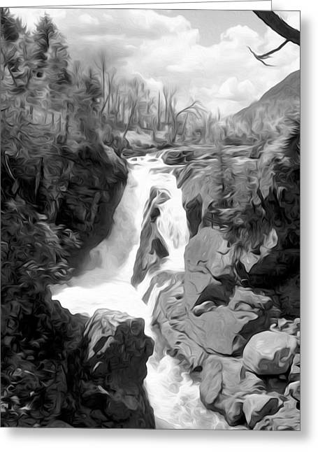 High Falls Gorge Greeting Cards - High Falls Gorge in Black and White Greeting Card by Tracy Winter
