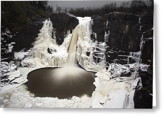 Ice Sculpture Greeting Cards - High Falls Greeting Card by Jakub Sisak