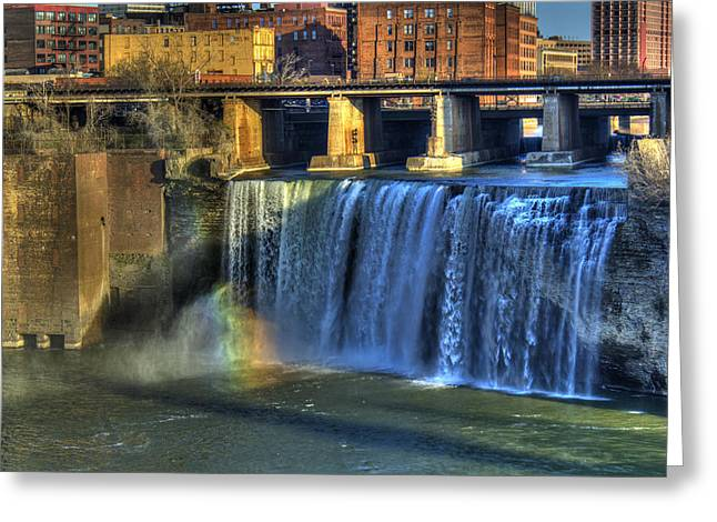 Rochester Artist Greeting Cards - High Falls Rainbow Greeting Card by Tim Buisman