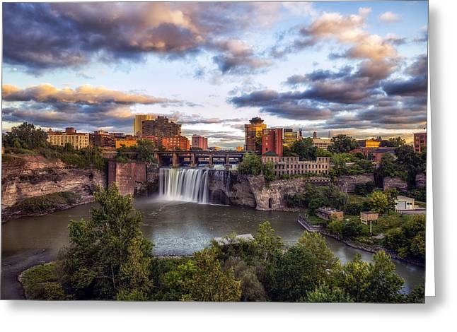High Falls Gorge Greeting Cards - High Falls Rochester Greeting Card by Mark Papke