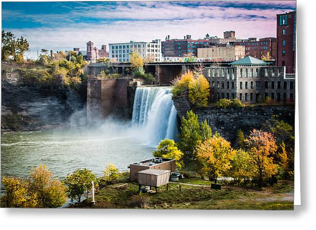 Rochester Skyline Greeting Cards - High Falls Rochester Greeting Card by Sara Frank
