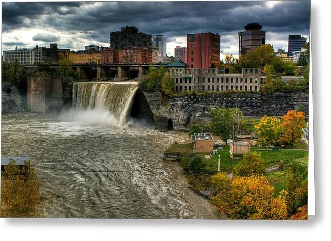 Rochester Artist Greeting Cards - High Falls Greeting Card by Tim Buisman