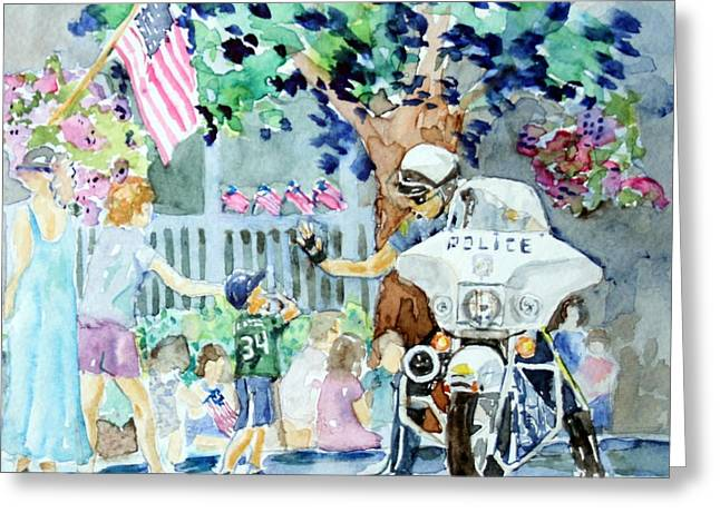 Law Enforcement Paintings Greeting Cards - High Five Greeting Card by Diane Wallace
