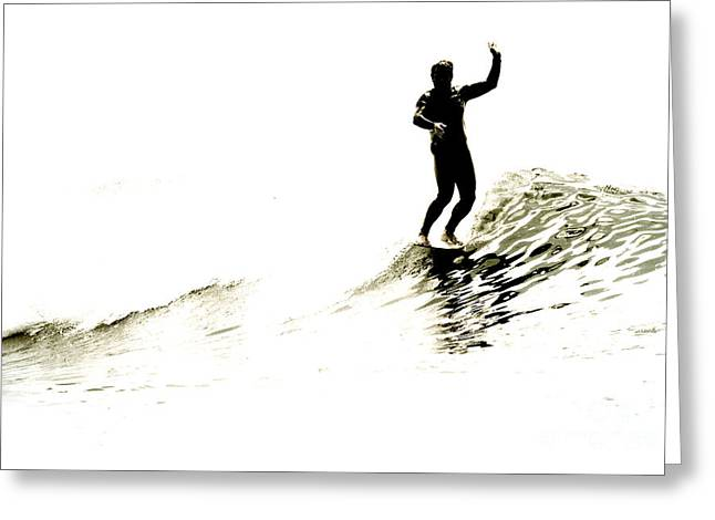 Surf Silhouette Digital Art Greeting Cards - High Five Greeting Card by Paul Topp