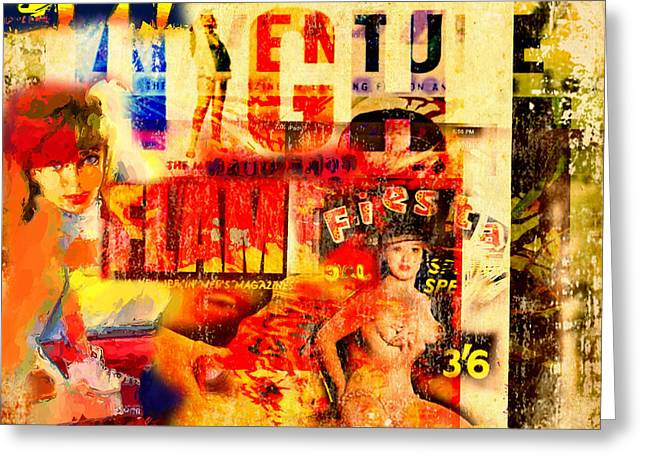 Magazine Cover Mixed Media Greeting Cards - High Flame Fiesta Greeting Card by Russell Pierce