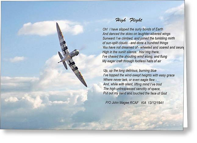 Poem Greeting Cards - High Flight Greeting Card by Pat Speirs