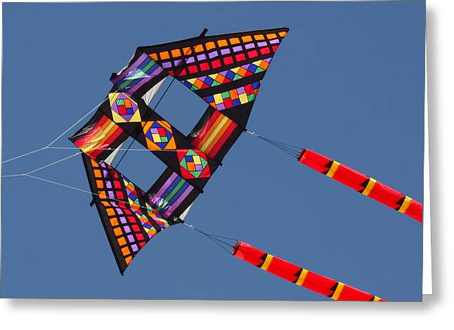 Kites Festival Greeting Cards - High Flying Kite Greeting Card by Art Block Collections
